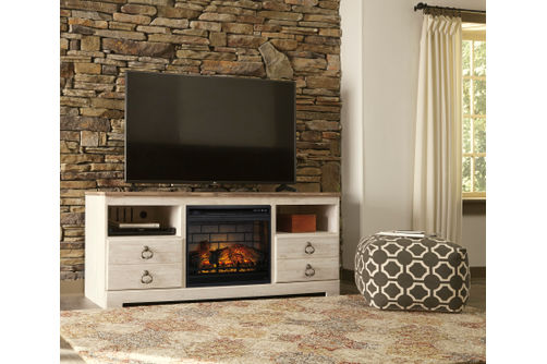 Signature Design by Ashley Willowton 63 Inch Electric Fireplace TV Stand- Room View