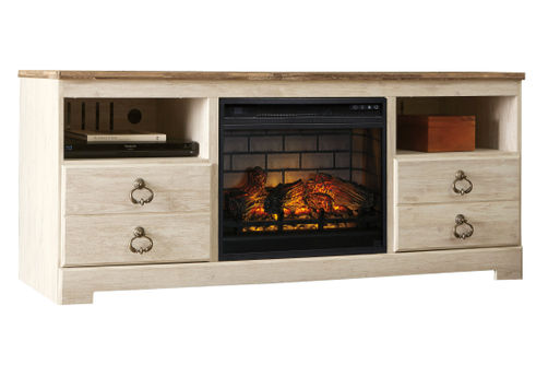Signature Design by Ashley Willowton 63 Inch Electric Fireplace TV Stand