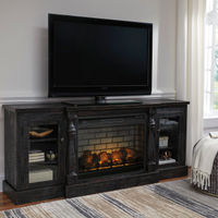 Signature Design by Ashley Mallacar 74 Inch Electric Fireplace TV Stand- Room View