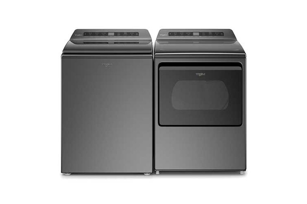 Whirlpool Chrome Shadow 4.8 Cu. Ft. Top Load Washer and 7.4 Cu. Ft. Gas Dryer