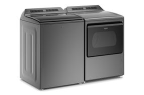 Whirlpool Chrome Shadow 4.8 Cu. Ft. Top Load Washer and 7.4 Cu. Ft. Gas Dryer - Angle View