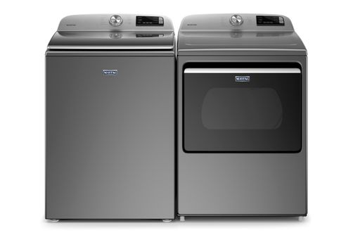 Maytag Metallic Slate 4.7 Cu. Ft. Top-Load Washer and 7.4 Cu. Ft. Gas Dryer