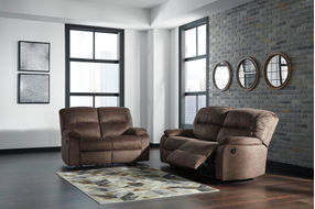 Signature Design by Ashley Bolzano-Coffee Reclining Sofa and Loveseat- Room View