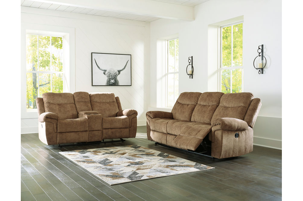 Signature Design by Ashley Huddle Up-Nutmeg Reclining Sofa and Loveseat- Room View