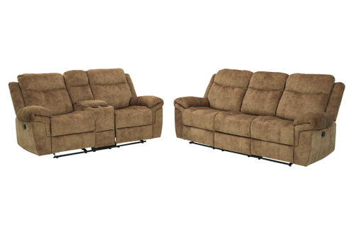 Signature Design by Ashley Huddle Up-Nutmeg Reclining Sofa and Loveseat