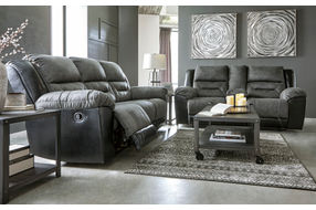 Signature Design by Ashley Earhart-Slate Reclining Sofa and Loveseat - Sample Room View