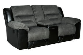 Signature Design by Ashley Earhart-Slate Reclining Loveseat with Cupholders