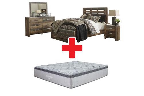 Benchcraft Chadbrook 6-Piece Queen Bedroom Set and Mattress ...
