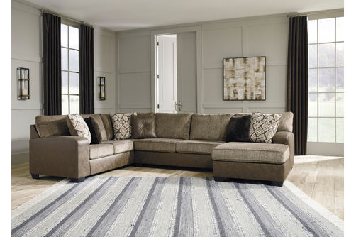 Benchcraft Abalone Chocolate 3-Piece Sectional- Room View