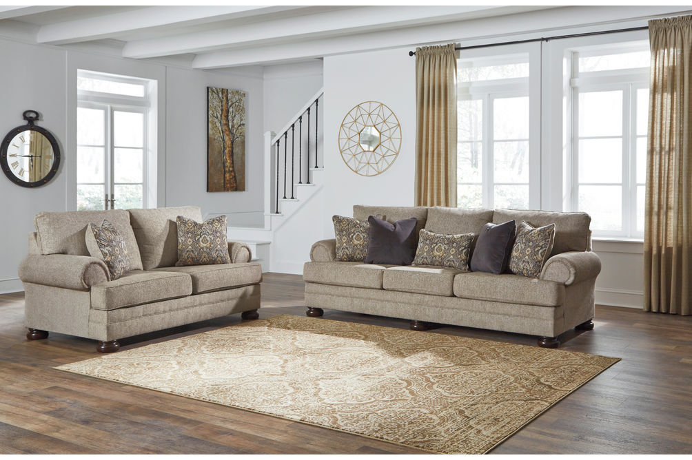 Signature Design by Ashley Kananwood-Oatmeal Sofa and Loveseat- Room View