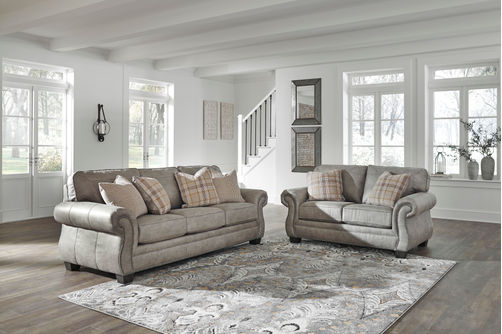 Signature Design by Ashley Olsberg-Steel Sofa and Loveseat- Room View