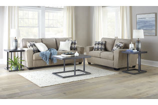 Signature Design by Ashley Waylark-Taupe Sofa and Loveseat- Room View