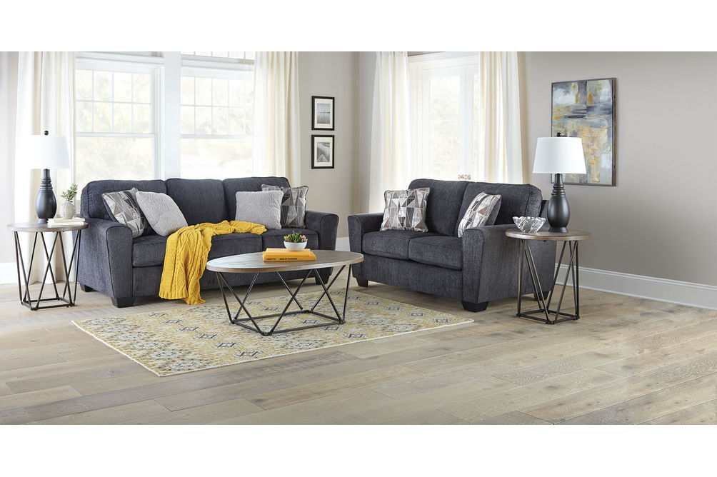 Signature Design by Ashley Waylark-Slate Sofa and Loveseat- Room View