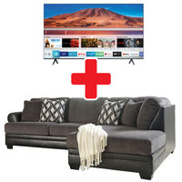 Benchcraft Kumasi- Smoke Sofa Sectional and Samsung 65 Inch UHD LED Smart TV Bundle