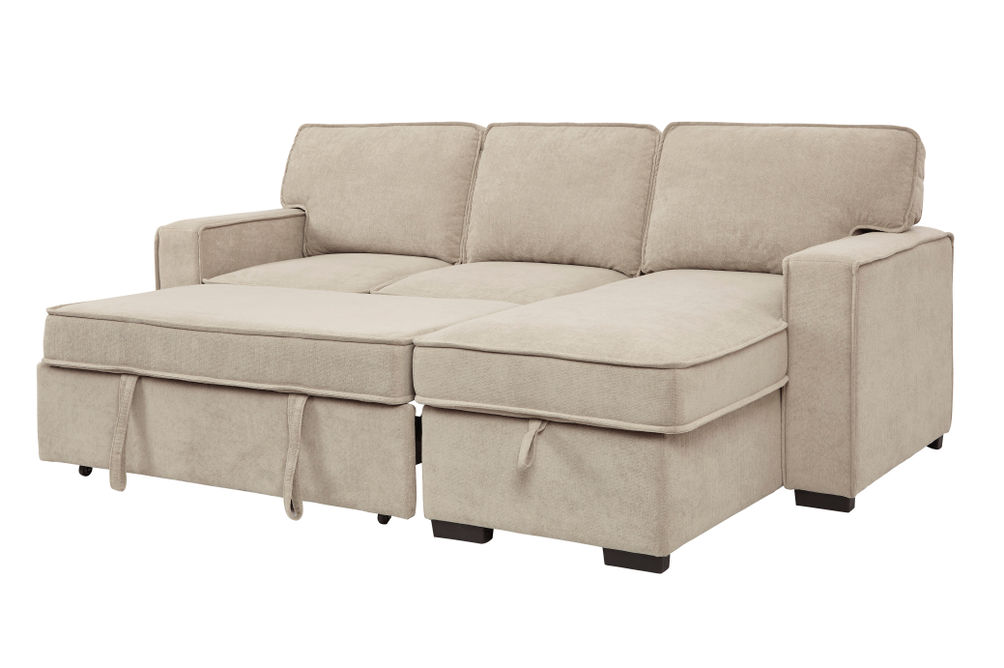 Signature Design by Ashley Darton-Cream Sofa Chaise with Storage- Sleeper View