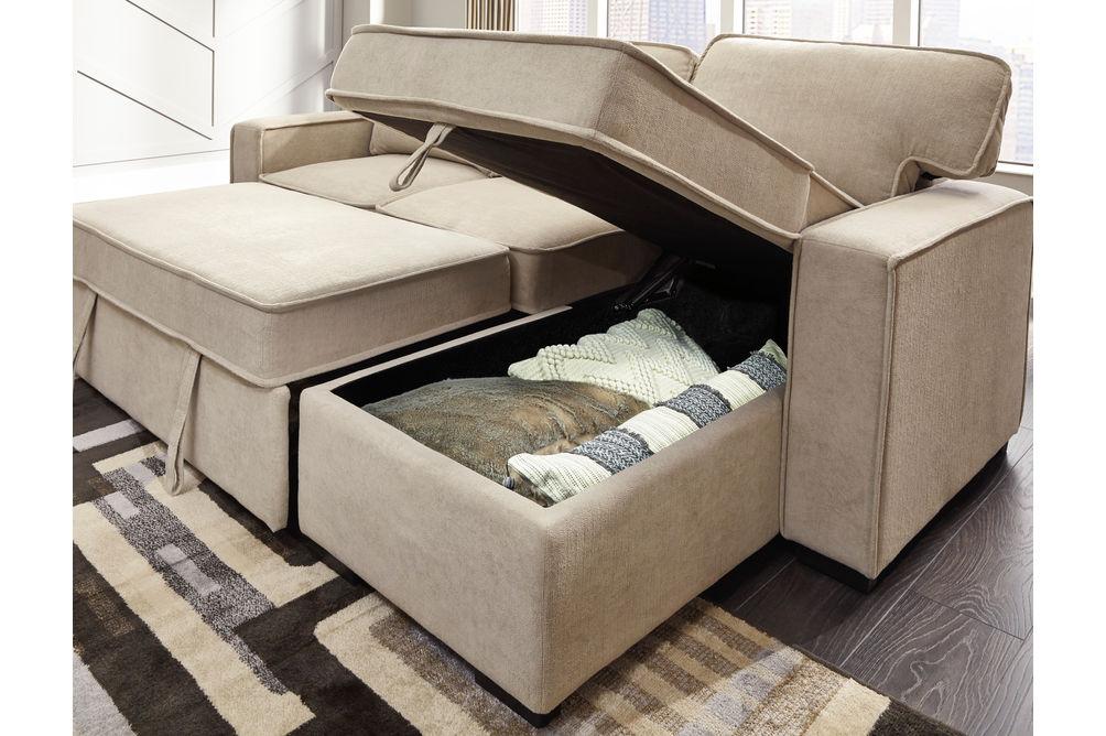 Signature Design by Ashley Darton-Cream Sofa Chaise with Storage- Storage View