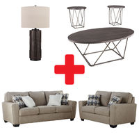 Signature Design by Ashley Waylark-Taupe 7-Piece Living Room Bundle