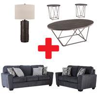Signature Design by Ashley Waylark-Slate 7-Piece Living Room Bundle