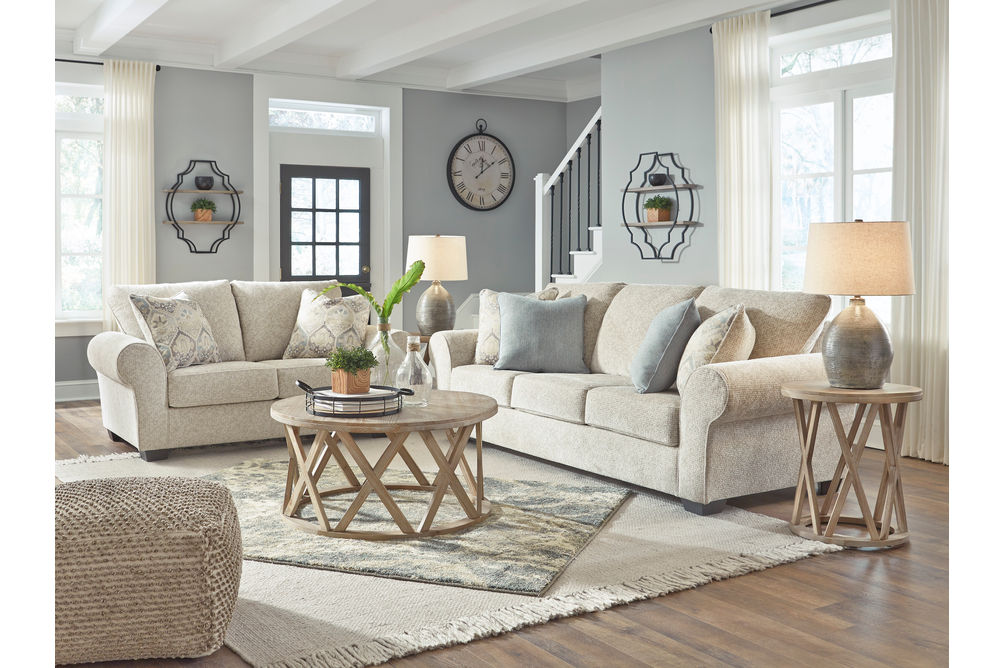 Benchcraft Haisley-Ivory Sofa and Loveseat - Room View