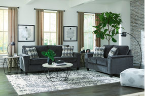 Signature Design by Ashley Abinger-Smoke Sofa and Loveseat- Room View