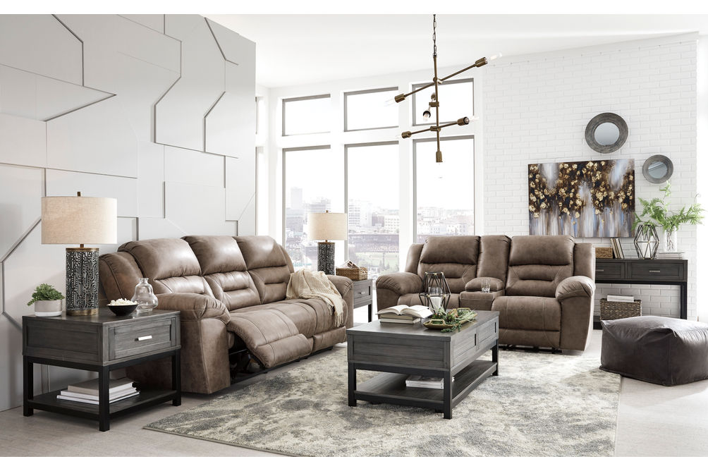 Signature Design by Ashley Stoneland-Fossil Reclining Sofa and Loveseat - Sample Room View