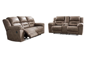 Signature Design by Ashley Stoneland-Fossil Reclining Sofa and Loveseat