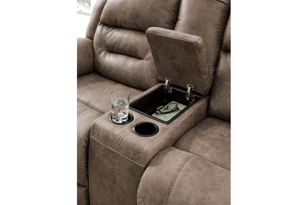 Signature Design by Ashley Stoneland-Fossil Reclining Loveseat Features