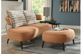 Signature Design by Ashley Hollyann-Rust Sofa and Ottoman Set- Room View