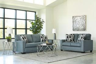 Signature Design by Ashley Gleston Gray Sofa and Loveseat- Room View