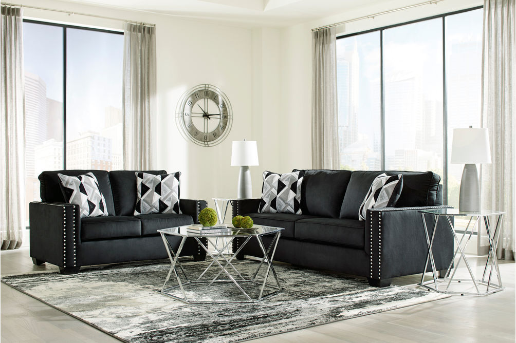 Signature Design by Ashley Gleston Onyx Sofa and Loveseat- Room View