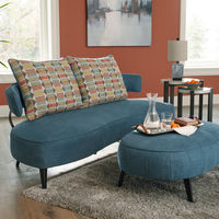 Signature Design by Ashley Hollyann-Blue Sofa and Ottoman Set- Room View