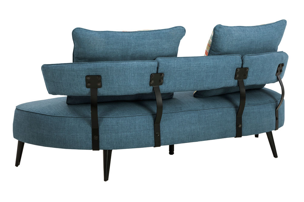 Signature Design by Ashley Hollyann-Blue Sofa and Ottoman Set- Back View