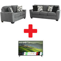 "LG 65"" Smart TV and Signature Design by Ashley Waylark-Pewter Sofa and Loveseat Bundle"