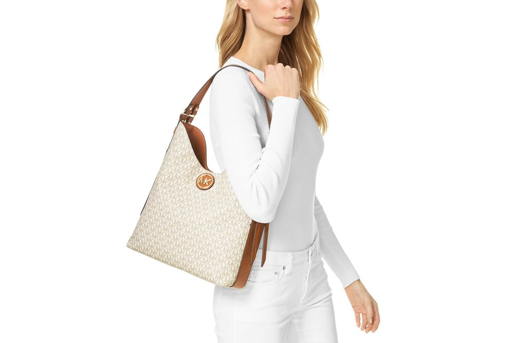 Michael Kors Bowery Large Vanilla Shoulder Bag- Size View