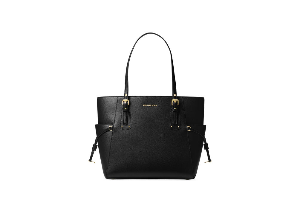 Michael Kors Voyager East West Large Tote - Black with Gold Hardware