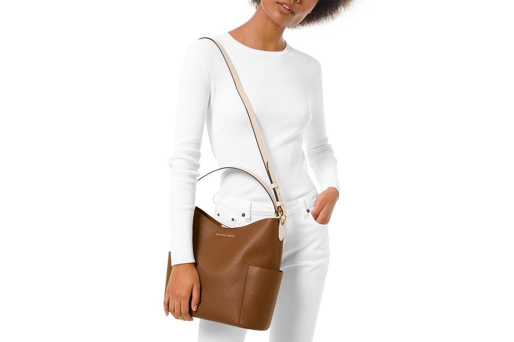 Michael Kors Bedford Medium Bucket Shoulder Bag Luggage- Alternate View
