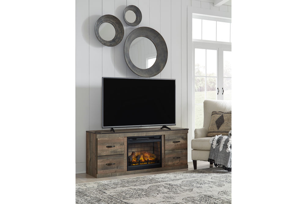 Signature Design by Ashley Trinell 60 Inch Electric Fireplace TV Stand - Room View