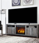 Signature Design by Ashley Baystorm 74 Inch Electric Fireplace TV Stand- Room View