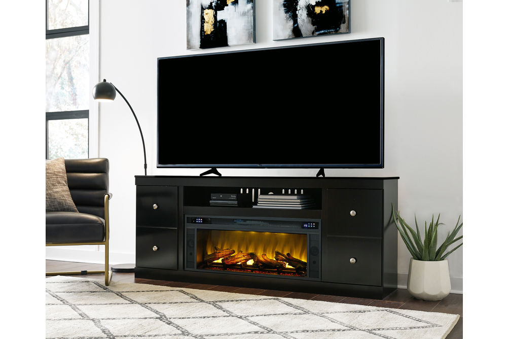 Signature Design by Ashley Shay 72 Inch Electric Fireplace TV Stand- Room View