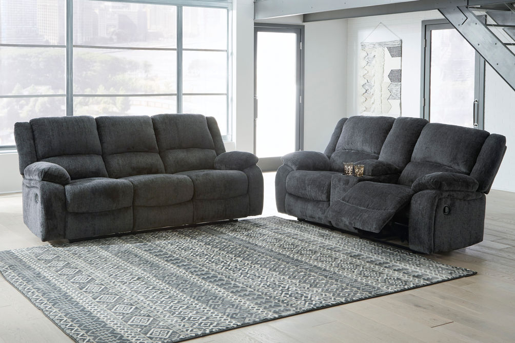 Signature Design by Ashley Draycoll Slate Reclining Sofa and Loveseat - Room View