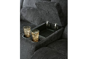 Signature Design by Ashley Draycoll Slate Reclining Sofa and Loveseat - Cup Holder and Storage