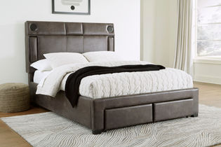 Signature Design by Ashley Mirlenz Queen Storage Bed with Speakers- Room View