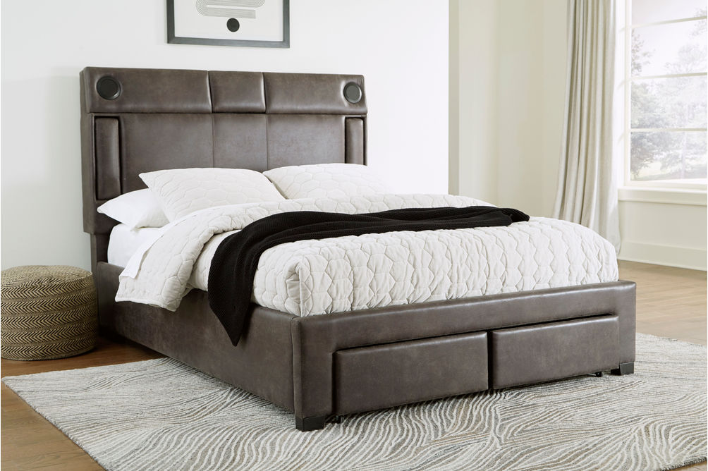 Signature Design by Ashley Mirlenz King Storage Bed with Speakers- Room View