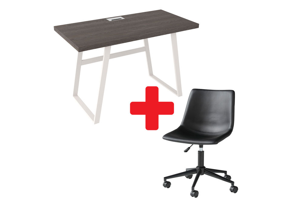 Signature Design by Ashley Dorrinson Home Office Desk with Black Swivel Chair