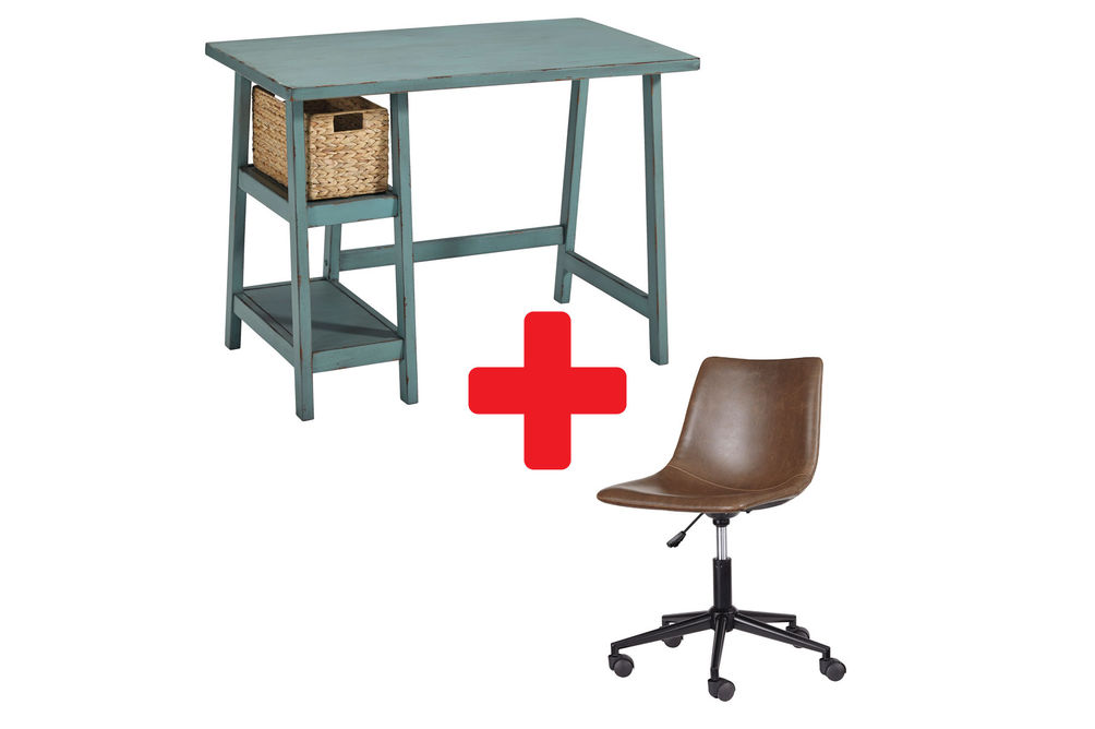 Signature Design by Ashley Mirimyn Teal Home Office Desk with Brown Swivel Chair