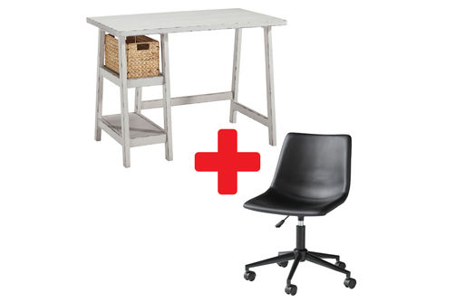 Signature Design by Ashley Mirimyn White Home Office Desk with Swivel Chair