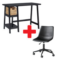 Signature Design by Ashley Mirimyn Black Home Office Desk with Swivel Chair