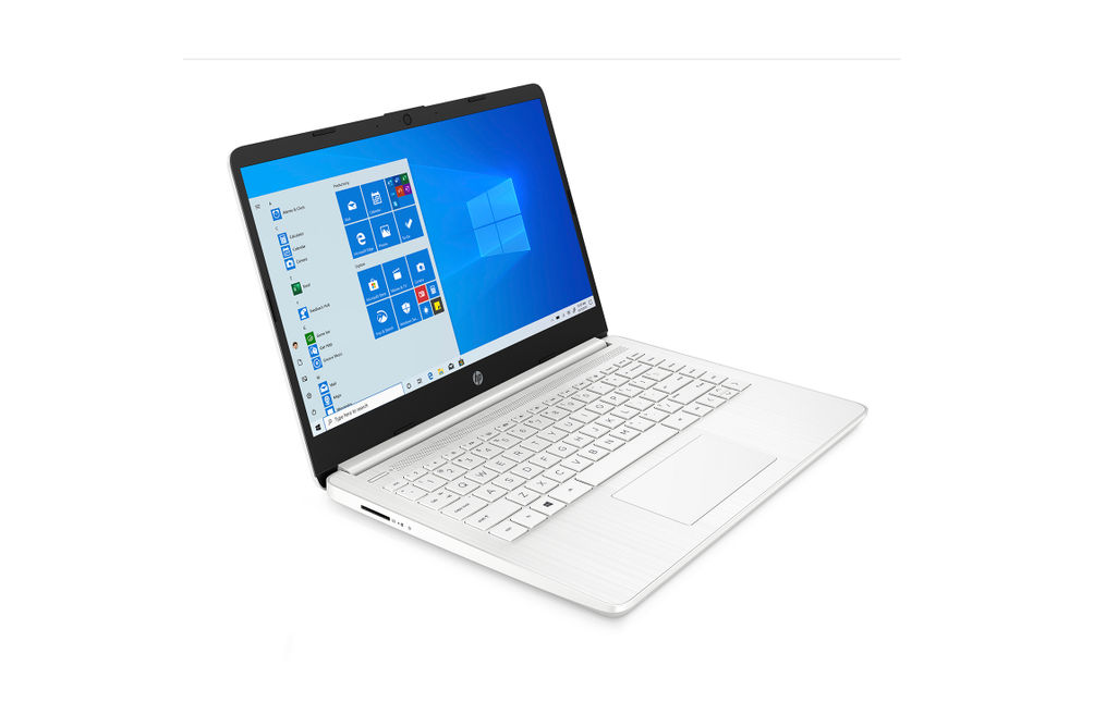 HP 14 Inch AMD Athlon 3020e Laptop Snowflake White- Angle View