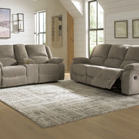Signature Design by Ashley Draycoll Pewter Reclining Sofa and Loveseat - Room View