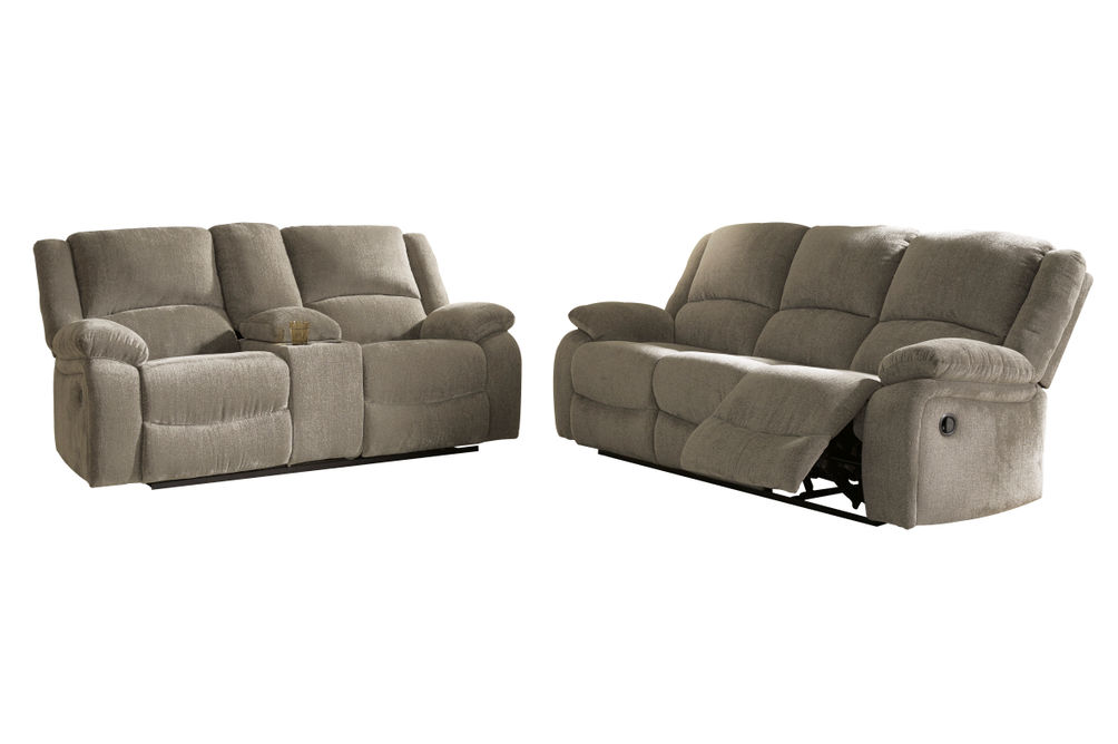 Signature Design by Ashley Draycoll Pewter Reclining Sofa and Loveseat
